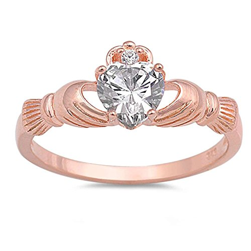 Oxford Diamond Co Rose Gold Plated and Cubic Zirconia Claddagh .925 Sterling Silver Ring Size 6