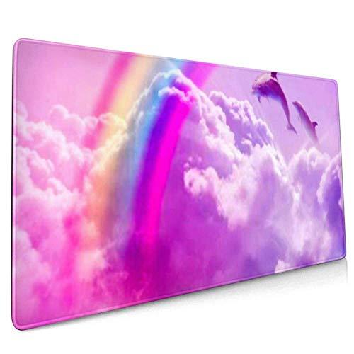 Langes Mauspad (90 x 40 cm), magischer Regenbogen-Hintergrund, flauschige Schreibtischunterlage, Tastaturmatte, rutschfeste Unterseite, wasserabweisend, für Arbeit und Gaming, O