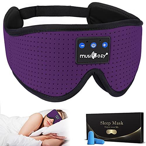 MUSICOZY Sleep Headphones Bluetooth Headband Breathable 3D Sleeping Headphones, Wireless Music Eye Mask Sleep Earbuds for Side Sleepers Women Office Air Travel Cool Tech Gadgets Unique Gifts