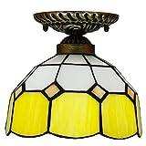 DALUXE Lámpara de Techo Tiffany Lámpara de Techo de cúpula multicolora Luminaria mediterránea de Vidrio para Corredores Balcón Balcón Entrada de Dormitorio Yellow E27 Ø20 * H18CM 8InCH