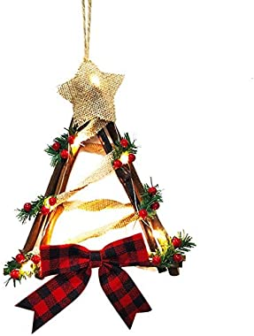ButterThao93 Christmas Wreath for Windows Christmas LED Light Wreath Hanging Decoration Household Rattan Wooden Wall Door Hanging Christmas Wreaths Pendant Decorations-B