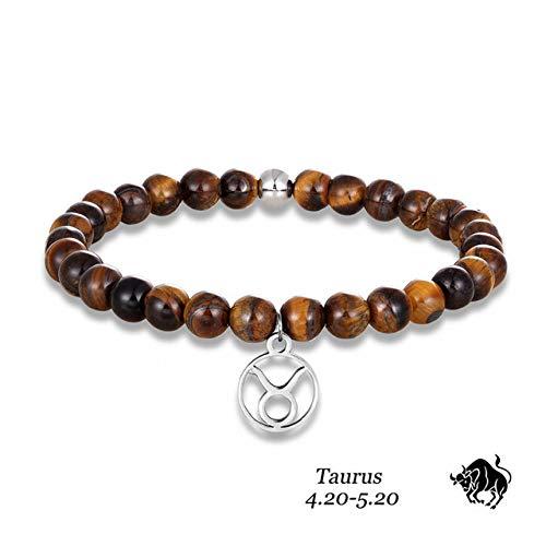 BroochshiWo Pulsera de piedra con brazaletes, estilo vintage de 12 ojos de tigre del zodiaco piedra de 6 mm, cuentas de acero inoxidable, accesorios para hombre, joyería de yoga, Tauro