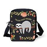 POLERO Small Crossbody Bags Kids Schoolbags Women Mini Messenger Bags Casual Shoulder Bags Follow Your Dreams Sloth Flower Print