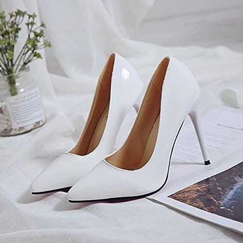 Wapipey Tacones Altos Cuero Negro Puntas Puntiagudas Sexy Tacones Altos Mujer Zapatos de Boda Sexy Cuello de Blanco Azafata Singles Singles Zapatos de Boda Oficina Casual Fiesta de Compras