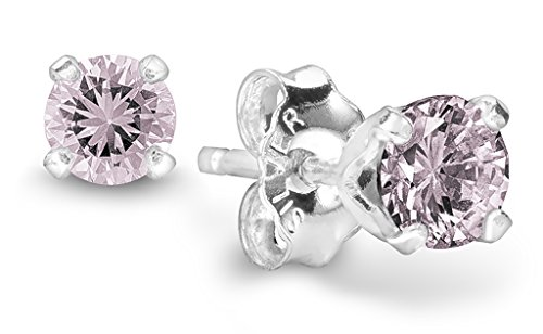 Birthstone Stud Earrings 4 mm - 925 Sterling Silver with Cubic Zirconia Crystal - June (Alexandrite) - CHOOSE YOUR COLOR