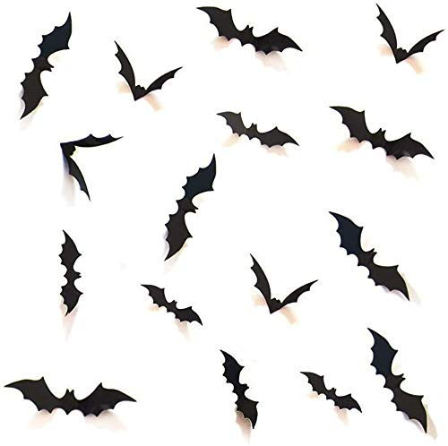Boolavard DIY Halloween Party Supplies PVC 3D Decorative Scary Bats Wall Decal Wall Sticker, Halloween Eve Decor Home Window Decoration Set, 28pcs, Black