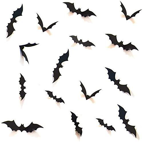 Boolavard DIY Halloween Party Supplies PVC 3D Dekorative Scary Fledermäuse Wandtattoo Aufkleber, Halloween Eve Decor Home Fenster Dekoration Set, 28 Stücke, Schwarz