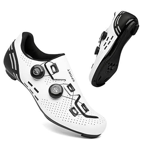 KUXUAN Calzado de Ciclismo para Hombre Calzado de Bicicleta de Carretera Peloton Interior para Mujer con Bloqueo Calzado Deportivo de Ciclismo,3-13UK=(285mm)=47EU