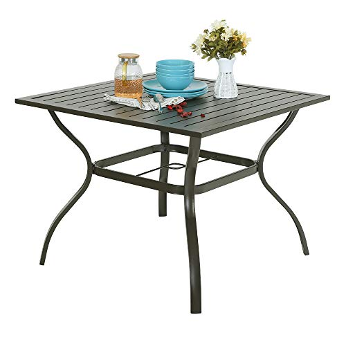 """PHI VILLA 37 Inch Metal Steel Slat Patio Dining Table Square Outdoor Furniture Garden Table Backyard Bistro Table with 1.57"""" Umbrella Hole, Brown"""