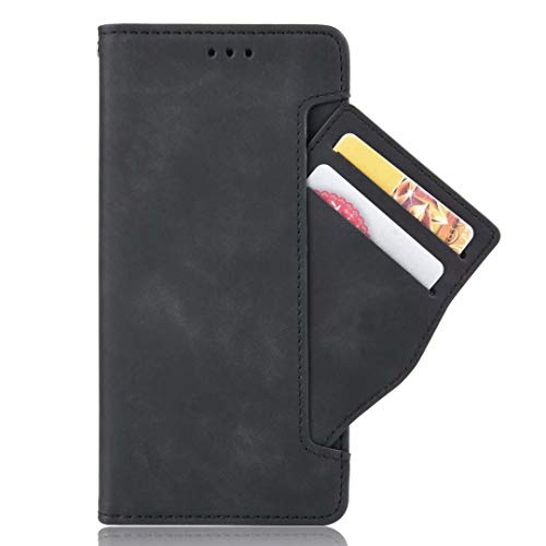 Hllycr Redmi Note 9S Leather Case with stand Flip Kickstand Case with Card Slots Protective Cover for Xiaomi Redmi Note 9S - Black