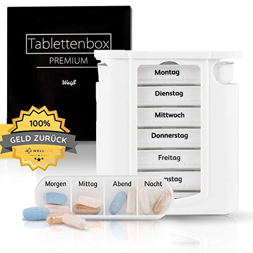 WellLux 7 Tage Tablettenbox & Pillendose für Tabletten – Pillenbox mit 4 Fächer Aufbewahrung der Medikamente – Medikamentenbox klein mit Deckel für 1 Woche – Tablettendose, Box rund für morgens abends