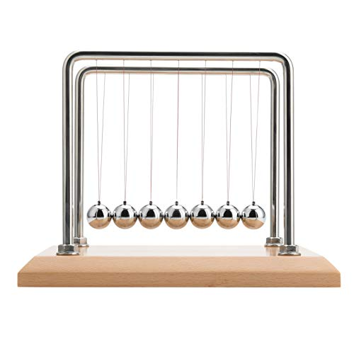 CERROPI 7 Balls Newtons Cradle, Nano Strings, Swing 50s, Pendule de Newton, Base en Bois de hêtre