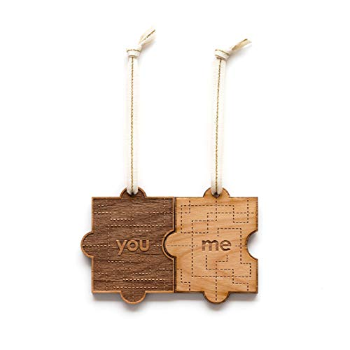 You & Me Puzzle Piece Laser Cut Wood Ornament (Valentine's Day/Christmas/Holiday/Love/Anniversary/Couples)