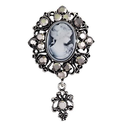 TENDYCOCO Brosche Cameo Broschen Kristall Brosche für Frauen (Silber)
