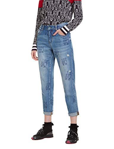 Desigual Damen Trousers Robots Boyfriend Jeans, Blau (Denim Medium Wash 5053), Keine Angabe (Herstellergröße: 32)
