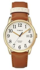 Adjustable brown 20mm genuine leather strap with light pink accents fits up to 7.5-inch wrist circumference Cream easy-to-read dial with date window at 3 o'clock; full Arabic numerals Gold-tone 38mm brass case with mineral glass crystal. Case Finish:...