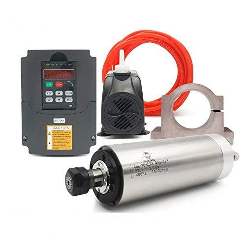 VFD CNC Spindle Motor Kits:220V 2.2KW CNC VFD+220V 2.2KW 4bearings 400hz 24000rpm Φ80mm Water...