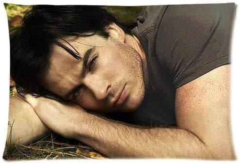 Kingam - Federa per cuscino con cerniera, motivo 'Vampire Diaries' Damon Salvatore Ian Somerhalder, 50 x 80 cm (due lati)