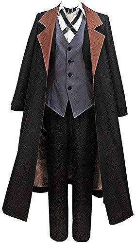 Hannahcos Nakahara Chuuya Black Long Coat with Hat Uniform Suit Cosplay Costume (Small)