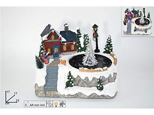 DUE ESSE CHRISTMAS S.r.l. Giostrina Scenario Fontana con Albero Musica luci Batteria