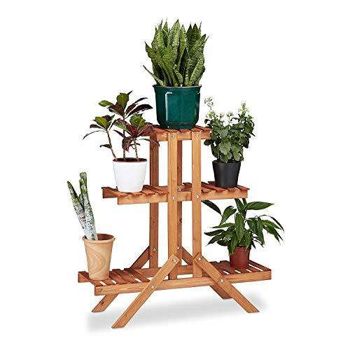 LLYU Escalier floral Creative 3 couches, bois, stand de fleur, intérieur, extérieur (Color : Gold red)
