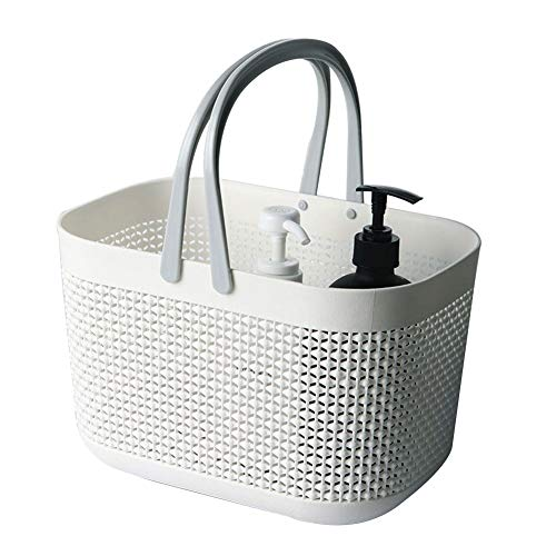 FEOOWV Plastic Bathroom Storage Basket with Handle, for Storing Bathroom Body Wash, Shampoo, Conditioner, Lotion (White, 1Pcs)