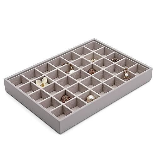 Vlando Miller Schmucktablett stapelbar Vitrine Display Schublade Organizer Aufbewahrung Schachbrett mehrere Farbkombinationen große Kapazität mehrlagiges Design und Mode (grau)