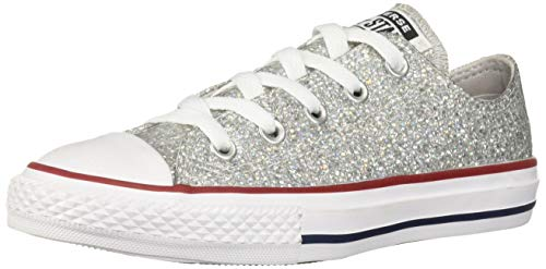 Converse Girls Chuck Taylor All Star Sport Sparkle Low Top Sneaker, Mouse/Enamel Red/White, 6 M US Big Kid