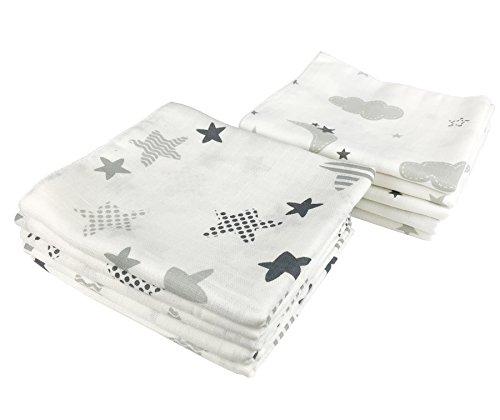 10x Spucktücher Mullwindeln Baby Baumwolle 80x70 cm | ÖKO-TEX (Wolken & Sterne)