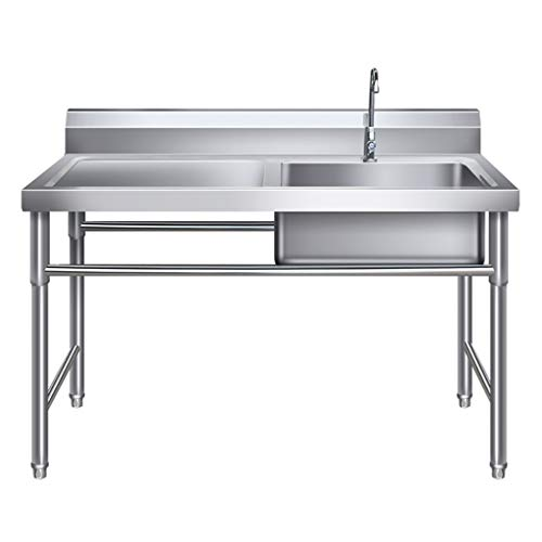 Commercial Sink Kitchen Wash Basin Stainless Steel 1 Compartment with Worktable Hygienic Robust for Outdoor Indoor Garage Kitchen Laundry