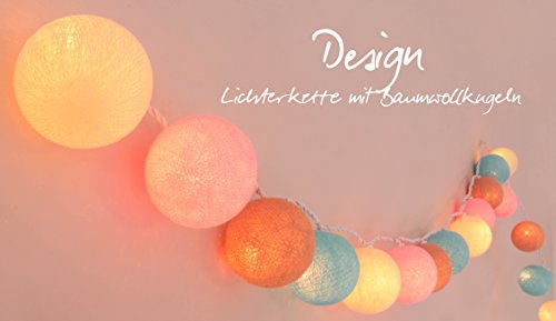 Illuminate Your Home Lichterkette 'Pastell' mit 20 Kugeln aus Baumwolle - Cotton Ball Lights, innen