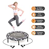 2020 Upgraded Wamkos 40' Mini Exercise Trampoline for Adults Kids,Foldable Rebounder Fitness Trampoline Trainer with Resistance Bands for Sports & Indoor,Outdoor,Yoga and Other Jumping Cardio Exercise