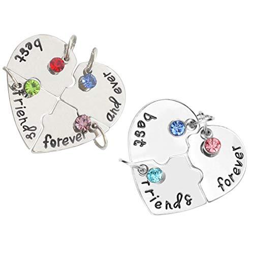 NUOBESTY 2 Juegos de Diamantes de Imitación Mejores Amigos para Siempre BFF Collar Grabado Rompecabezas a Juego Amistad Corazón Colgante Collar de Cadena de Cuello Joyería