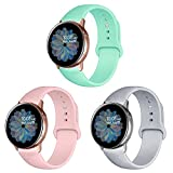 Band4u 20mm Cinturino Compatibile con Samsung Galaxy Active 2 Watch 40mm 44mm, Galaxy Watch 3 41mm, Galaxy Watch 4/Galaxy Watch 4 Classic, Cinturino di Ricambio in Silicone Morbido da 3 Pezzi