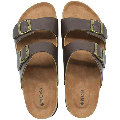 ONCAI Men's-Slide-Sandals-Beach-Slippers-Arizona Slippers Shoes Indoor and Outdoor Anti-skidding Flat Cork Sandals Casual Leather Male Beach Flip-Flops with Two Adjustable Straps Size 10 Dark Brown