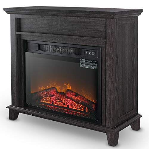 """Della 32"""" Wooden Grey Finish Push Button Freestanding Insert Electric Fireplace Stove Heater for Living Room Home"""