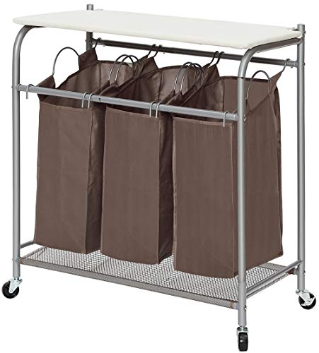 STORAGE MANIAC 3 Lift-Off Bags Laundry Sorter with Foldable Ironing Board, Multifunctional Laundry Cart