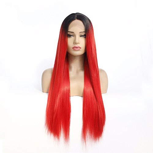 Pelo largo rojo liso degradado negro, 26 pulgadas, peluca de encaje frontal, cabello artificial, fibra química de seda de alta temperatura, utilizada para el uso diario de las mujeres