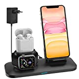 Supporto Caricabatterie Wireless 3 in 1 Caricatore Stand per A pple Watch, Qi wireless caricatore supporto di ricarica wireless station per Airpods iPhone 11 X/8 Plus/XS MAX/XR Iwatch 5 4/3/2/1-Nero