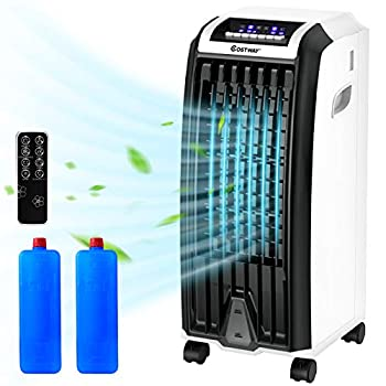COSTWAY Evaporative Cooler Portable Cooling Fan with Remote Control 3-Mode 3-Speed and 7.5H Timer Function Include Ice Crystal Boxes Water Tank and Casters Bladeless Cooler for Home Office
