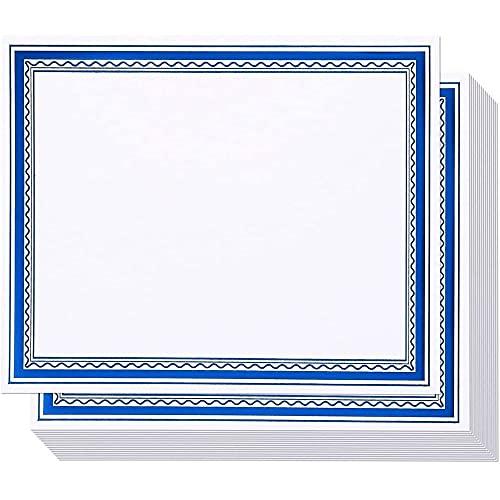 Carta per certificato con bordo in lamina blu, certificati di premiazione (bianco, 21,6 x 27,9 cm, confezione da 50