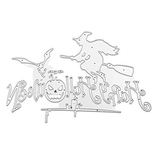 GuanjunLI 1 Set Happy Halloween Metall Stanzschablone Prägeschablone für DIY Scrapbook Album Papier Karte Basteln Dekoration