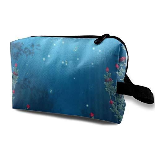 Borsa da viaggio in tela per trucchi, portatile, piccola borsa per cosmetici, per ragazze, donne, uomini, violoncello note musicali rosa