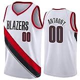 Rencai Carmelo Anthony Jersey # 00 del Baloncesto de los Hombres, Trail Blazers de Portland Nueva Tela Alero sin Mangas de la Camisa de los Jerseys (Color : 1, Size : L)
