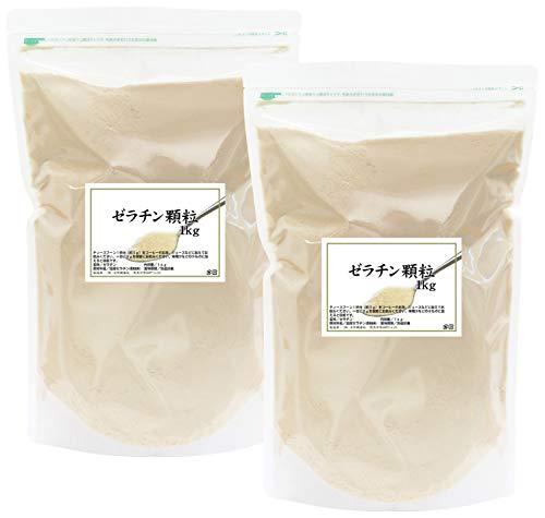 自然健康社 国産ゼラチン顆粒 1kg×2個 チャック付き袋入り