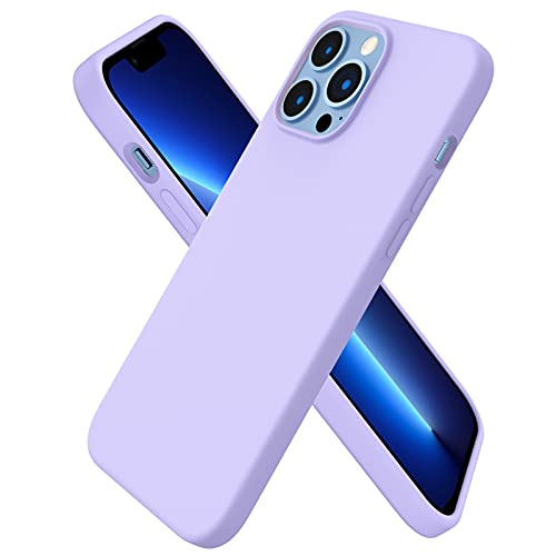 ORNARTO kompatibel mit iPhone 13 Pro Max 6,7 Silikon Hülle, Hülle Ultra Dünne Voller Schutz Flüssig Silikon Handyhülle Schutz für iPhone 13 Pro Max (2021) 6,7 Zoll, Licht Lila