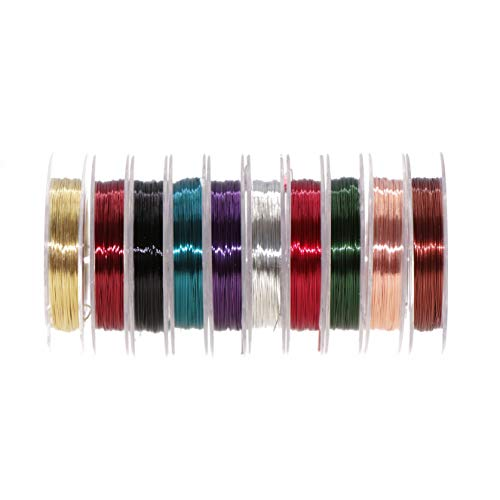 Temorah 10 Colors 0.3MM Copper Wire Fly Tying Materials for Handmade Fly Fishing (Assorted(10 Colors))
