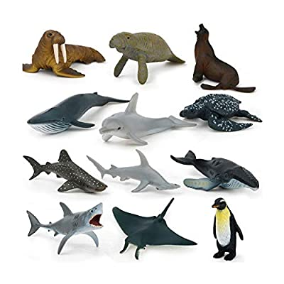 WE-WIN Lot de 12 Figurines d'animaux Sauvages Réalistes Marine World Animal