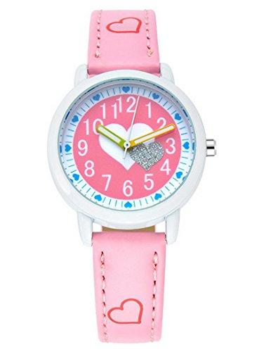 FEOYA - Reloj Niñas de Analogico Cuarzo Redondo Colorido Watch para Estudiantes - Rosa