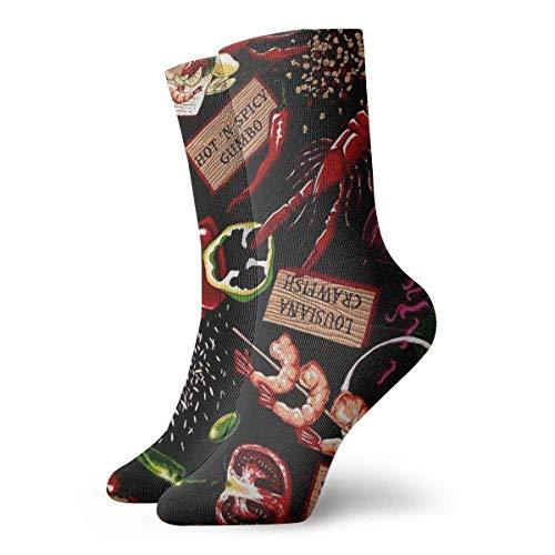 yting Beiläufige Mannschafts-Socken-Hummer-Paprika-Grill-Knöchelsocken-kurzes Kleid-Kompressions-Socken für Frauen Männer